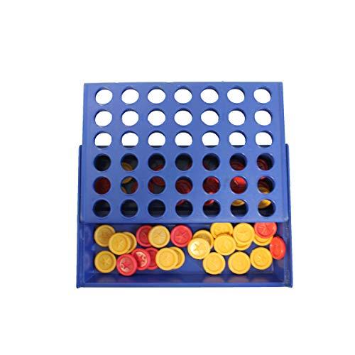 PROJECTS Juego de plástico – Juego de viaje / juego infantil cuatro en una fila – Juego de estrategia para niños – Juego de mesa – Fichas en dos colores para niñas y niños a partir de 6 años