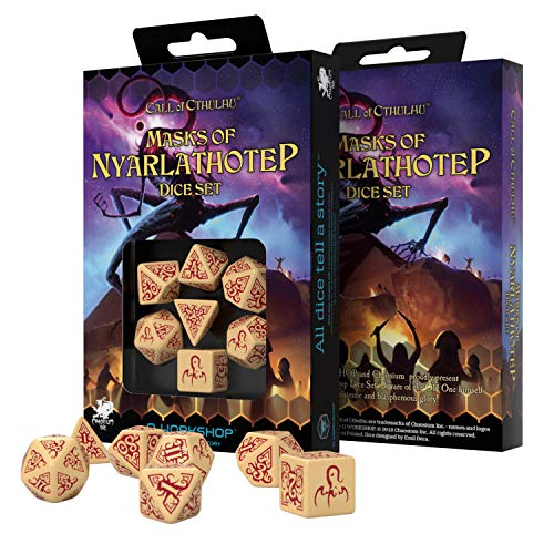 Q Workshop Call of Cthulhu Masks of Nyarlathotep RPG Ornamented Dice Set 7 Polyhedral Pieces