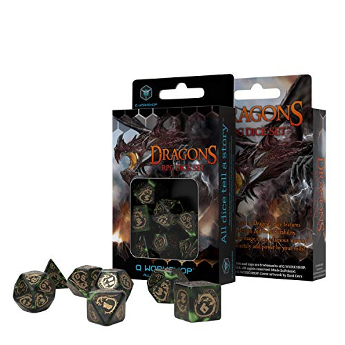 Q Workshop Dragon Bottle Green & Gold RPG Ornamented Dice Set 7 Polyhedral Pieces
