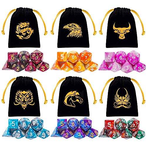 QMAY Poliédrico Dados, 6 x 7 (42 Piezas) Colores Dobles Dados de Juego, para Dungeons and Dragons DND RPG MTG D20 D12 D10 D8 D6 D4 Juego de Mesa, con Paquete de 6 Negro Bolsas