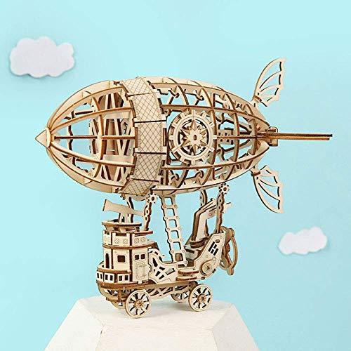 Raelf Puzzle de Juguetes de Juguete de Bricolaje de Bricolaje Juguetes de ensamblaje, Rompecabezas de Madera 3D Engranaje mecánico de Engranajes de Aire del vehículo de Aire Modelo de construcción de