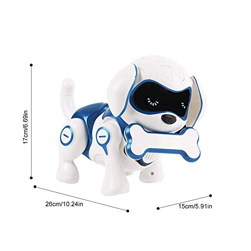 RCTecnic Perro Robot para Niños Rock Perrito de Juguete Interactivo con Emociones y Movimiento, Ladra y Juega con su Hueso, Batería Recargable y Cable USB Muy Resistente y Divertido (Azul)