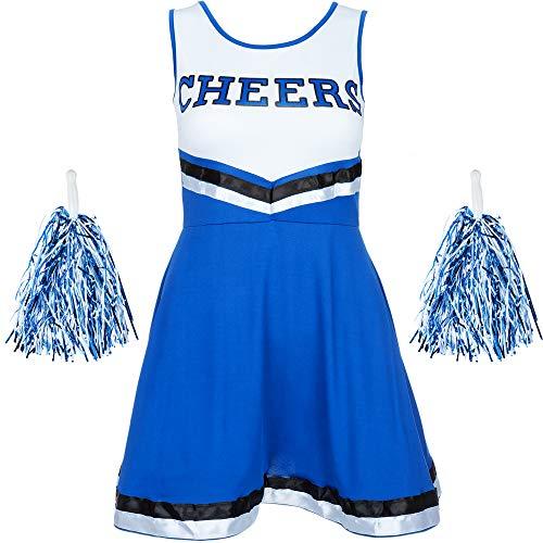 Redstar Fancy Dress - Disfraz de Animadora con Pompones - para Mujer - 6 Colores y Tallas 34 a 44 - Azul - L
