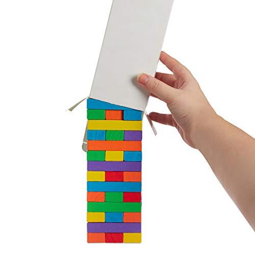 Relaxdays Torre de Madera, 48 Bloques Apilables, con Dado, A Partir de 3 años, 1 Ud, 22,5 x 7,5 x 7,5 cm, Multicolor
