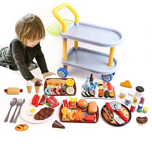 RuiDaXiang Carrito de Comida para niños,Juego de Roles para niños, Juguetes Grandes para Coche Comedor y 98 Piezas de Accesorios de Comida, Cocina y vajilla, para niños / niñas a Partir de 3 años