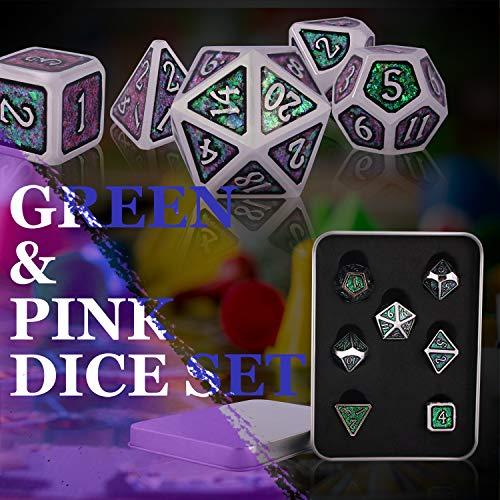 Schleuder Dados de rol Juego Dungeons and Dragons, 7 PiezasDND Dice Set Poliédricos de Juegos Metal D&D, Dados de Metal en Polvo fotosensibles, con un Estuche Acolchado de Regalo (D)