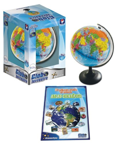 Science4you - Globo Terráqueo y Atlas Mundial, Libro Educativo, Globo Girable para Niños 8 9 10 Años