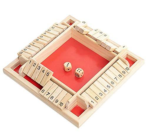 Scucs Juego de mesa de madera, 4 jugadores, Shut The Box, juego de dados matemáticas tradicional, pub board, juego de dados para viajes, 4 jugadores, juego de mesa de gran familia,
