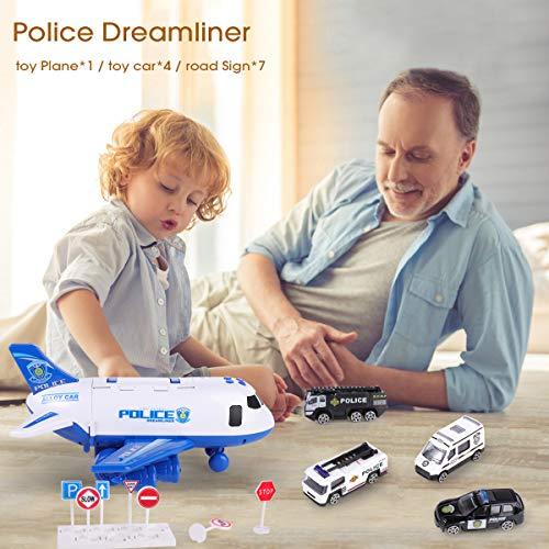 SHANNA Juego Aviones Vehículos,Juego Juguetes Educativos VehíCulos con Ruedas Inercia,1 AvióN Grande,4 Autos Aleación para Niños Mayores 3 Años (Coche Policía-Azul)