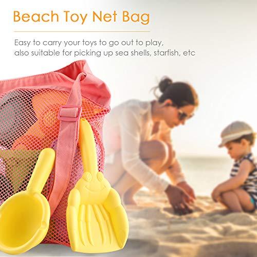 SHANNA Juguete de Playa Niños,Juegos Playa Bebes Set de Juguetes de Arena para Playa al Aire Libre con Coche Cangilón Moldes de Castillo y Bolsa de Malla de Material plástico Blando (14 Piezas)