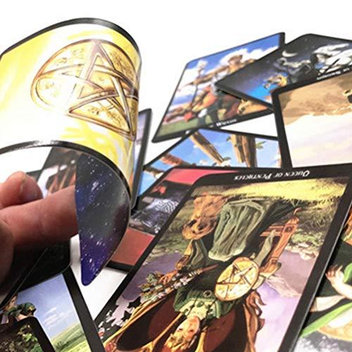 SHARRA Cartas del Tarot, Juego de Cartas de Juego de baraja de Tarot de Bruja Solitario con Caja, versión en inglés Divertida, Juegos de Cartas de Tarot para Fiesta Familiar, Juego de Solitario