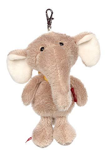 Sigikid Mädchen und Jungen, Schlüsselanhänger Elefant, Kuscheltier mit Karabinerhaken Llavero con Peluche, Color, Klein (42507)