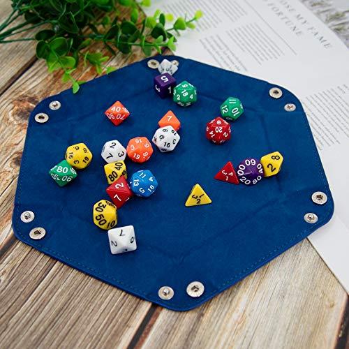 SIQUK 2 Piezas Bandeja Dados Cuero PU y Terciopelo Tablero Dados Plegable para DND RPG Juegos de Mesa, Rojo y Azul Real