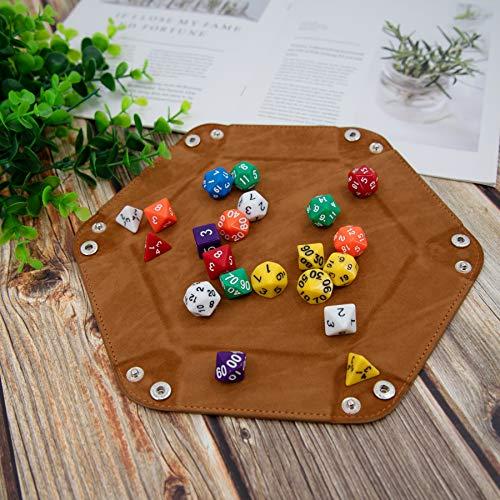 SIQUK 4 Piezas Bandeja Dados Cuero PU y Terciopelo Tablero Dados Plegable para DND RPG Juegos de Mesa, Azul Real, Naranja, Camel y Negro