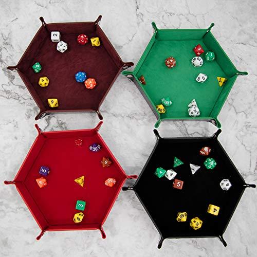 SIQUK 4 Piezas Bandeja Dados Cuero PU y Terciopelo Tablero Dados Plegable para DND RPG Juegos de Mesa, Café, Verde, Rojo y Negro