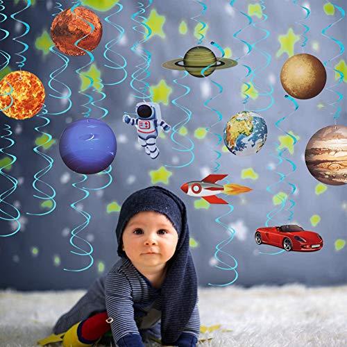 Sistema Solar decoración Colgante remolinos,Astronauta Spaceman Rocket Foil Globo, Adornos de espirales serpentinas para Infantiles Niños Habitación Techo cumpleaños Fiesta decoración Suministros