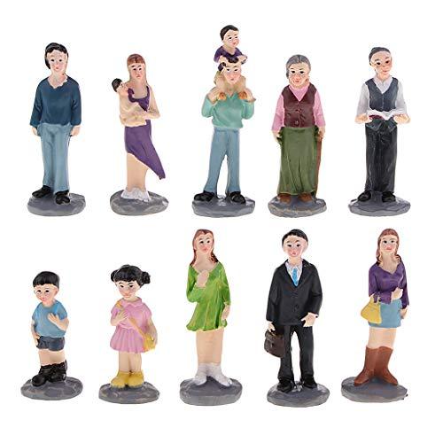 SM SunniMix Juguete de Figuras de Acción Modelo Kit para Juego de Caja de Arena Paisaje Terapia Lúdica - 10 Piezas Miembro de Familia (2.6x2.2x7.5cm)