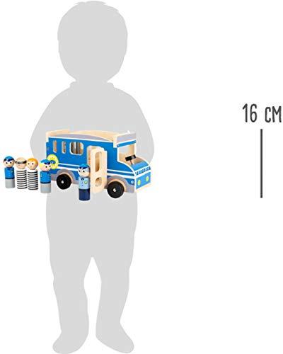 small foot company - 11459 Autobús Grande de Madera de la policía, con Figuras de Juego y Mucho Espacio para pasajeros y Ladrones Juguetes, Multicolor (11459)