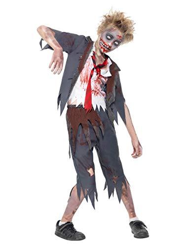 Smiffy's-43022L Halloween Disfraz de colegial Zombi, con pantalón, Chaqueta, Falsa Camisa y Corbata, Color Gris, L-Edad 10-12 años (43022L)