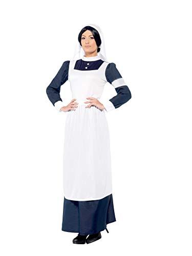 Smiffys-43430M Disfraz de Enfermera de la Gran Guerra, con Vestido y Adorno para la Cab, Color Blanco, M-EU Tamaño 40-42 (Smiffy'S 43430M)