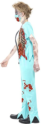 Smiffy's Smiffys-44032L Disfraz de cirujano zombi, con pantalones manchados de sangre, parte de ar, color azul, L-Edad 10-12 años 44032L