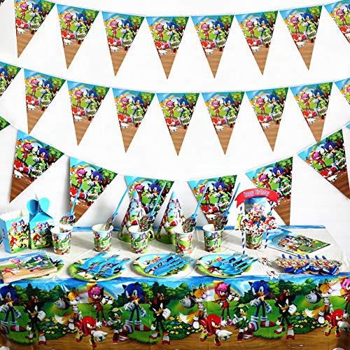 Sonic The Hedgehog Party Supplies Juego de Decoración, FANDE 92 Piezas Suministros de Fiesta Sonic para Cumpleaños de Niños Cartoon Anime Theme Artículos para Fiesta de Cumpleaños