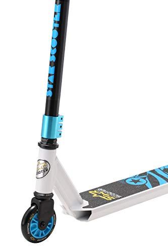 STAR SCOOTER Patinete Patineta Scooter Freestyle Stuntscooter para niños y niñas a Partir de 7 años y Adultos   100 mm Edición Entrada   Blanco Azul