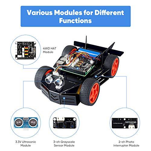 SUNFOUNDER Raspberry Pi Car Robot Kit, Módulo 4WD Hat, Sensor Ultrasónico, Control Remoto por PC Celular y Tableta Compatible Pi 4B / 3B + 3B