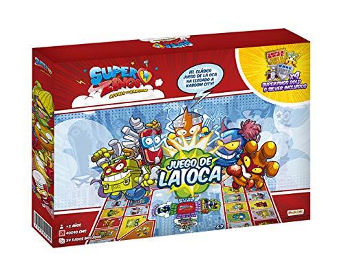 SuperZings - Exclusivo Juego de la Oca (OCASPZ) con los Personajes de SuperZings, Incluye 4 Figuras Gold o Silver