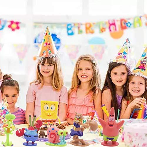 SZWL Mini Juego de Figuras, Caricatura Cake Topper, Fiesta de Cumpleaños DIY Decoración Suministros, Niños Mini Juguetes Baby Shower Fiesta de cumpleaños Pastel Decoración Suministros 6 Piezas