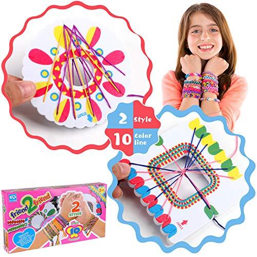 Tacobear Kit para Hacer Pulseras de Amistad con 10 Colores Hilos y Cuentas Kit de Manualidades de Pulseras Trenzadas Pulsera Mejores Amigos para Niños Niñas