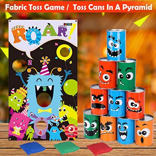 Tacobear Monstruos Juego de Lanzamiento Juego Punteria Niños con 3 Bolsas de Frijoles Carnaval Juego Jardin Bean Bag Toss Game para Juegos de Fiesta Juego de Deportes Juego al Aire Libre