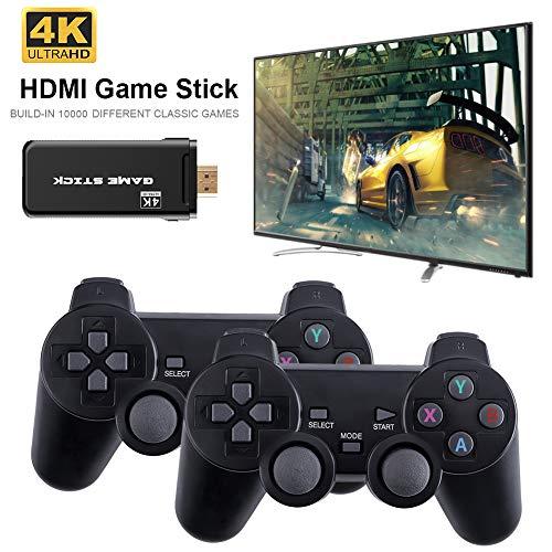 taianle Consola de Juegos Retro USB Consola inalámbrica Game Stick Consola de Videojuegos HD Salida de TV HDMI 4K Regalo de Doble Jugador para Adultos y niños (Controlador y Game Stick(64G))