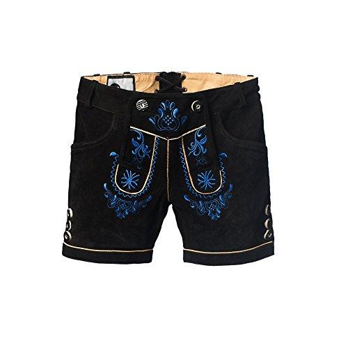 Tannhauser 0108-35-38 - pantalones de cuero de gamuza Hannelore corto, negro