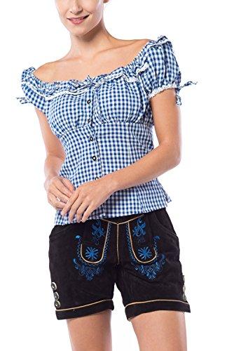 Tannhauser 0108-35-44 - pantalones de cuero de gamuza Hannelore corto, negro