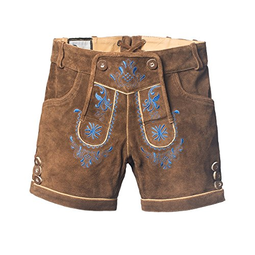 Tannhauser 0108-36-40 - pantalones de cuero de gamuza Doris corto, de color marrón oscuro