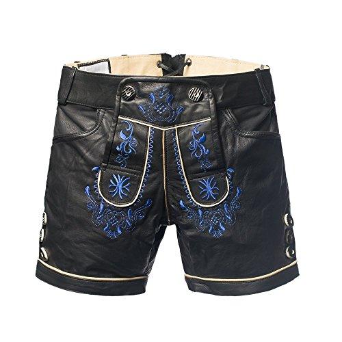 Tannhauser 0108-37-44 - Lederhosen buck Charlotte corto, negro/azul