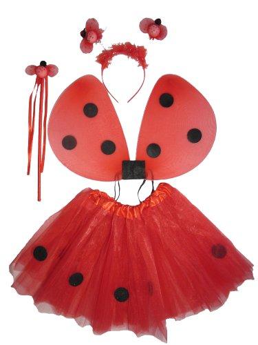 Tante Tina - Traje de Mariquita para Las niñas - 4 Pieza alas / Mariposa Conjunto Feenflügel - One Size