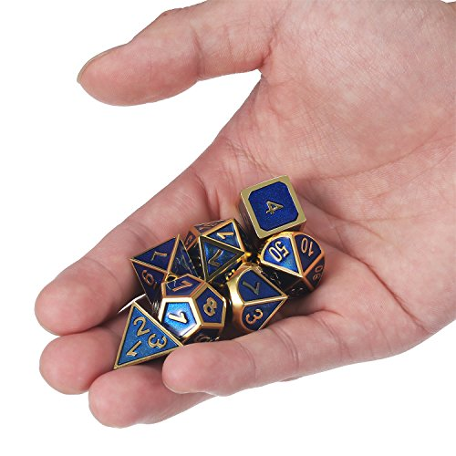 TecUnite Juego de Dados 7-Die Poliédricos de Metal Conjunto de Dados de Juego de rol DND con Bolsa de Almacenaje para RPG Dungeons y Dragons D&D Enseñanza de Matemáticas (Dorado Brillante y Azul)