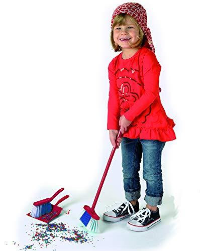 Theo Klein 6741 Carro de limpieza Vileda, Con fregona, cubo, escoba y mucho más, Diseño de Vileda, Medidas del carro: 29 cm x 24 cm x 60 cm, Juguete para niños a partir de 3 años