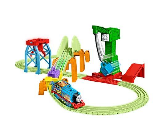 Thomas & Friends Trackmaster Hyper Glow Night Delivery Playset GGL75, Thomas The Tank Engine & Friends, Piezas de Pista Brillante, Cranky The Crane, Multicolor