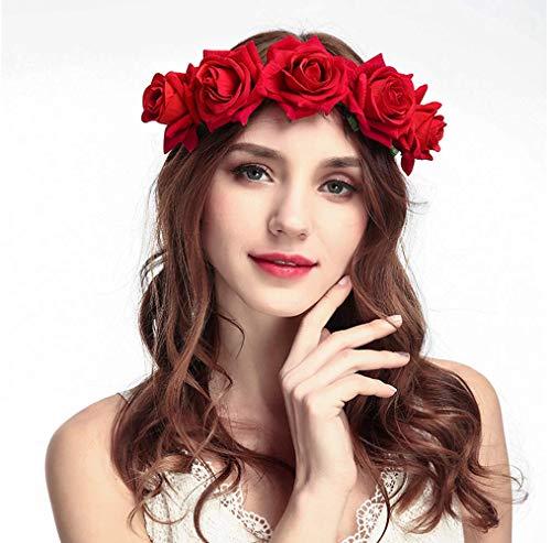 Tweal Diademas de Flores,Diademas de Flores Rosas Cinta Elástica Venda De Pelo Mujeres Chicas para Banquete de Boda Festival Photo Props