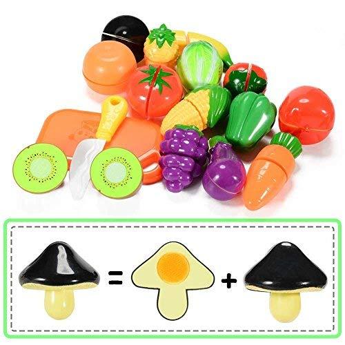 Twister.CK Juego de Alimentos Play para niños, 18 pz. Juego de imaginación Cortar Comida Cocina Comida Frutas y Verduras