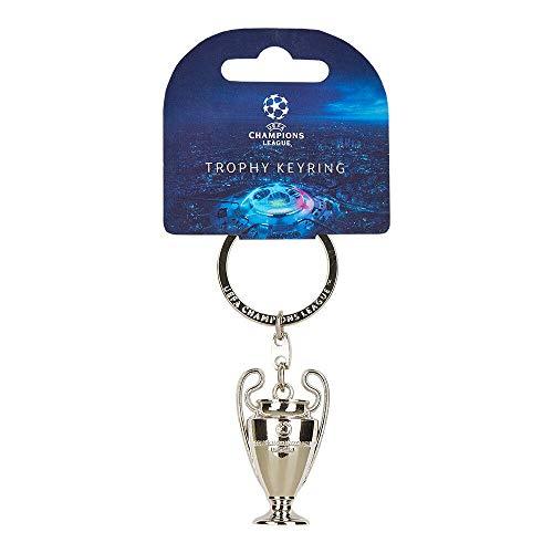 UEFA League Llavero réplica de la Copa Champions Leagueen 3D, Unisex-Adult, Metal, Trophy 45 mm, Keyring 9 cm