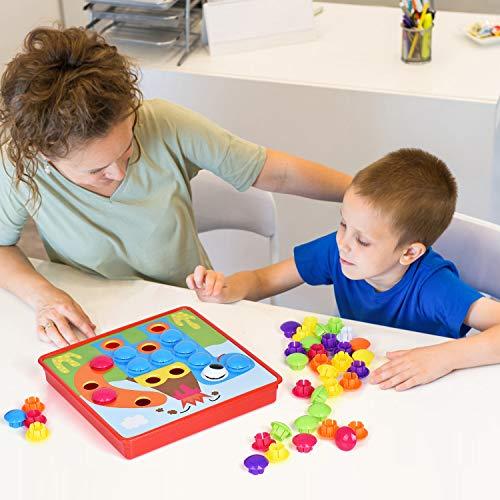 Ulikey Mosaico Infantiles de Fichas, Tablero de Mosaico Infantiles, Juguete Educativo de Primera Infancia para Niños y Niñas Pequeños Acción de Gracias Navidad 3 4 5 años de Edad