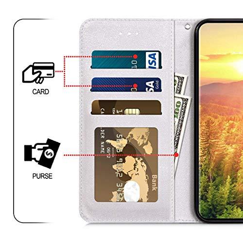 Uposao Compatible con Funda Samsung Galaxy S10e Funda Piel PU Cuero Billetera Flip Estilo Libro Tapa,Purpurina Glitter Brillante 3D Dibujos Carcasa Plegable Soporte Función,Cierre Magnético,Lobo