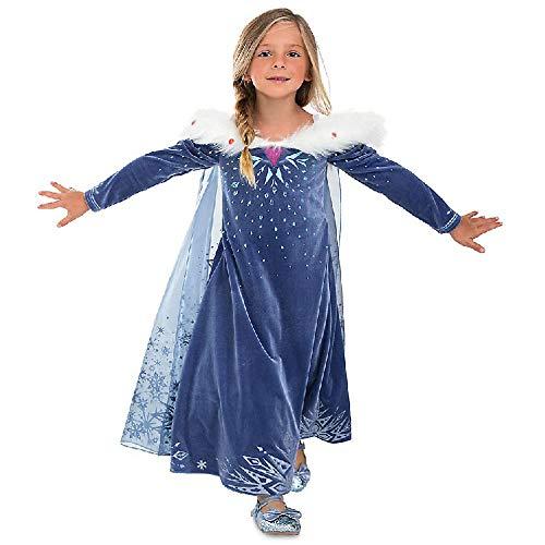 URAQT Disfraz de Elsa, Vestido de Princesa Elsa, Vestido de Copo de Nieve de Encaje Fino con Varita de Hada y Tiara de Corona, para Cumpleaños, Fiesta de Navidad de Halloween