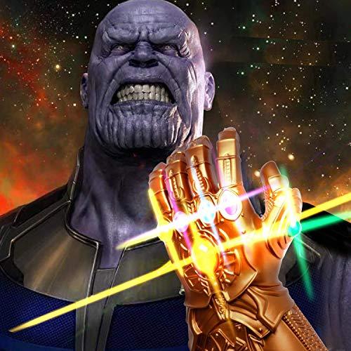 UrMsun Guante de los Vengadores con Luces led, Guantele Thanos Vengadores 4 Final del Juego Iron Man Infinity Gauntlet Hulk Thanos Capitán América Thor Cosplay con 2 Pilas Recambio