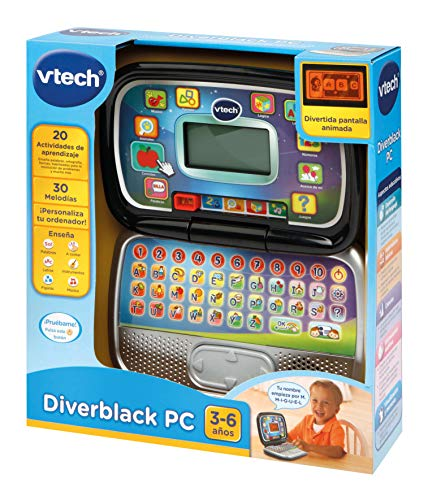 Vtech- Diverblack PC Ordenador Infantil Educativo para Niños, Color negro, única (80-196322)