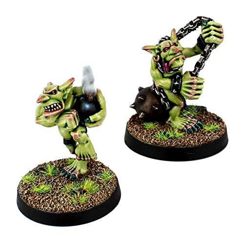 War World Gaming Gutrot Greenskins – Goblins Jugadores Estrella x 2 – Fanático & Bombardero – 28mm Escala Fantasía Futbol Miniatura Figura Personaje Blood Bowl Pieza Pintar Seguimiento Envío